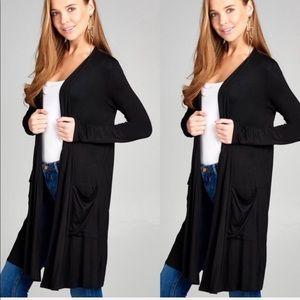 REG & PLUS SOFT Black Knit Cardigan w/Pockets